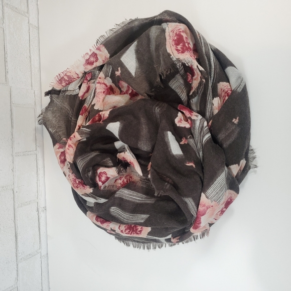 Gray floral infinity scarf
